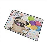 Cumpleaños para niños Alfombra universal para puerta Animal Perro lindo Perro sonriente Pug con globos de fiesta Tarjeta de felicitación Diseño inspirado Alfombra para puerta Decoración de piso Multic