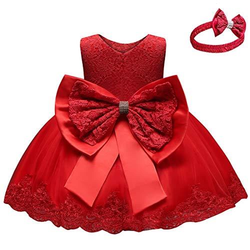 Happy Cherry - Abiti da Battesimo per Le Neonate Principessa Abito da Sposa per Bambini Festa di Compleanno Rosso 6-12 Mesi