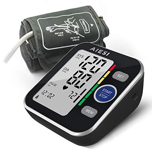 AIESI® Misuratore di pressione sanguigna da braccio professionale digitale automatico per adulti A6 # Sfigmomanometro elettronico # 120 memorie # Alimentatore di rete e USB # Garanzia Italia 24 mesi