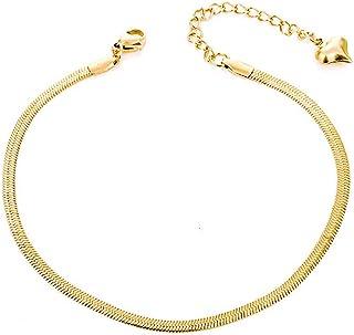 QJLE 18K طلا اندود تخت مار زنجیره ای دستبند نازک مچ پا برای زنان ، Boho Cute Summer Beach Anglet قابل تنظیم