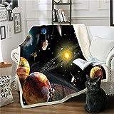 Mantas,Manta de impresión digital abstracta Starry Sky Planet 3D,manta de felpa Sherpa doble tamaño Queen,edredón de cama súper suave de viaje cálido,para sofá cama para niños adultos,150×130cm
