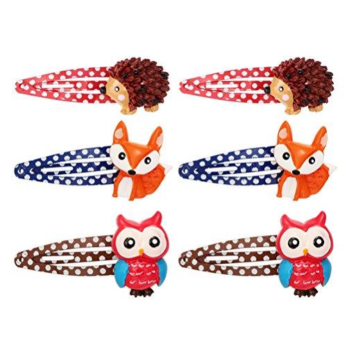 Frcolor Snap Haarspangen, Tiermuster Cartoon Haarspange Haarspangen für Kinder Mädchen (12 Stück)