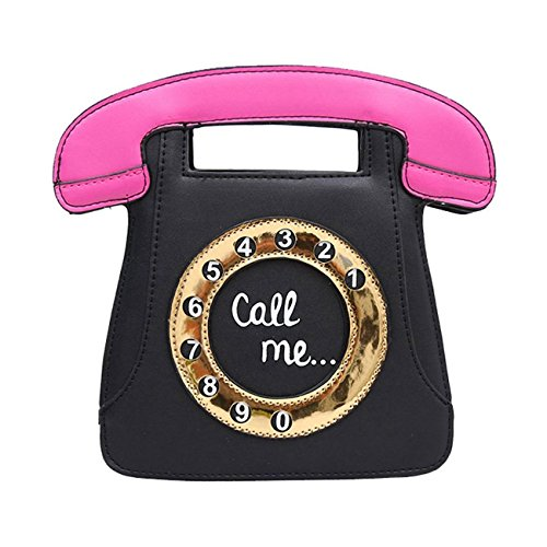 SODIAL Bolsa de Cruzado Cuerpo de Mujer Retro en Forma de telefono Monedero Clutch de Cuero de PU Bolsa de Cadena (Negro + Rosado)