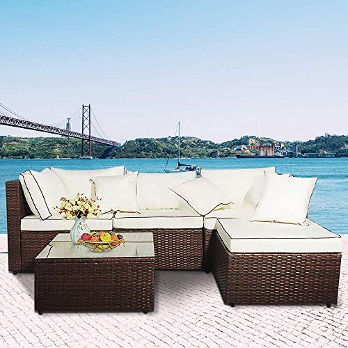 MIERES 5 Pieces Outdoor Rattan Garden Furniture Set, 4 Seater Modern Wicker Conversation Sofa Combo with Armchairs & Glass Top Coffee Table Perfect for Patio Lawn Pool Backyard (White)