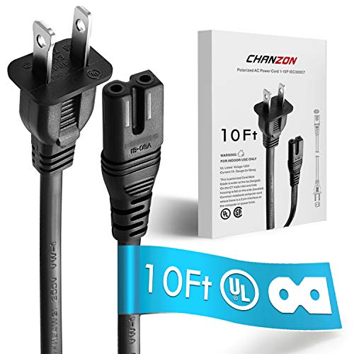 [UL Listed] Chanzon 10Ft 2Slot Polarized 7A AC Power Cord Compatible with Vizio E-M-Series HDTV,Sharp,Smart LED TV,Sony PS1 PS2 (2 Prong NEMA-1-15P to IEC320-C7 Plug) Universal Replacement Wall Cable