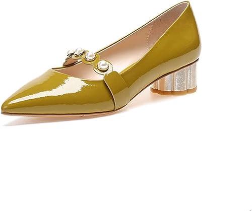 DONGLU Chaussures en Cuir Cuir Verni à Talons Hauts féminins (Couleur   Le Jaune, Taille   EU36 UK4 CN36)  prix de gros