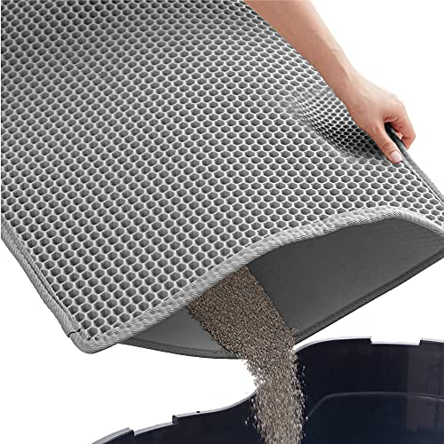 Gorilla Grip Durable Honeycomb Cat Litter Box Mat, Water Resistant, Traps Litter from Box, Helps to Waste Less Litter on Floors, Scatter Control, Double Layered, Soft on Kitty Cat Paws, Easy Clean
