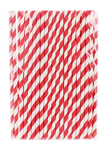 MIK Funshopping Papiert-Trinkhalme Papierstrohhalme für Kinder Geburtstag Hochzeit Babytaufe Party 80 Stück (rot-weiß gestreift)