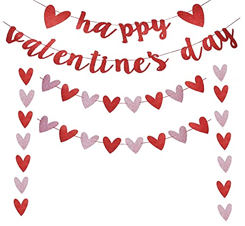 Happy Valentines Day Banner, Red Glitter Valentines Day Party Decorations, Valentines Day Garland, Valentines Photo Props, Heart Decorations, Wedding Anniversary Party, Valentines Day Fireplace Decor