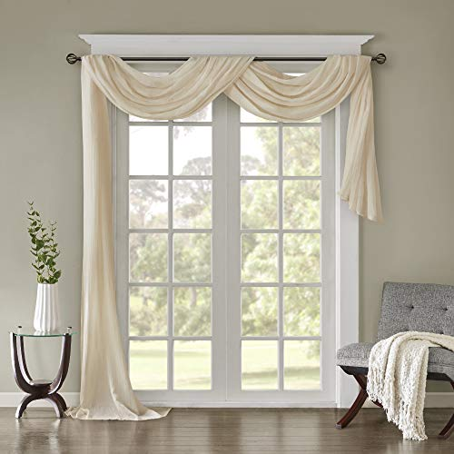 """Luxury Off White Window Scarf Valance Solid Color Texture Window Curtain Scarves Topper Simple Plain Beautiful Sheer Scarf Valance Window Treatment Decorative Lightweight, Quality Polyester, 42""""x216"""""""