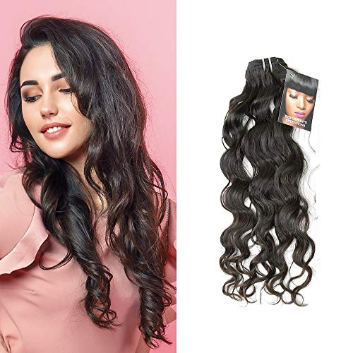 Imprint By Mau Raw Cambodian Wavy Hair Extensions, 1 Bundle, Premium Quality Unprocessed Human Hair Weaves with Strong Neat Weft, Natural Black (16 Inch)