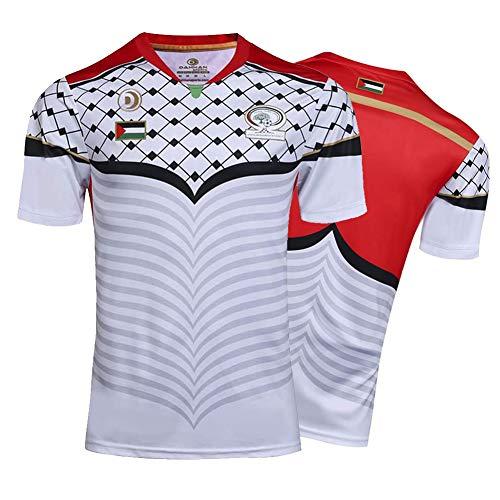Herren Rugby Trikot, Palästina Maillot De Rugby Polo Shirt Training T-Shirt, Unterstützer Fußball Sport Top, Bestes Geburtstagsgeschenk-White-L