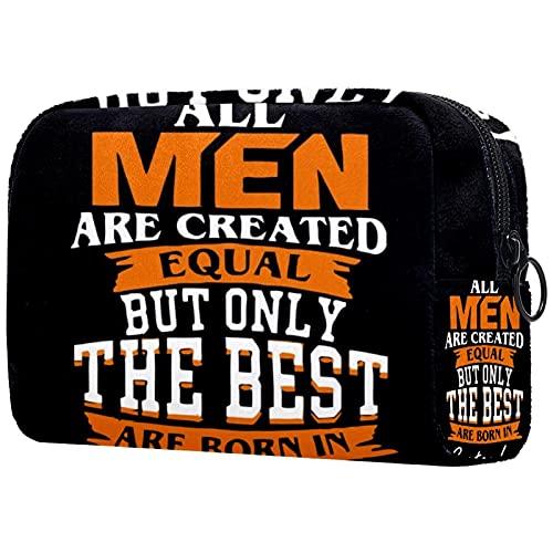 Kosmetiktasche Reise-Toilettenartikel täglich tragbare Make-up-Tasche mit Reißverschluss Zip,alle männer sind gleich geschaffen, Aber nur die besten Werden im September geboren