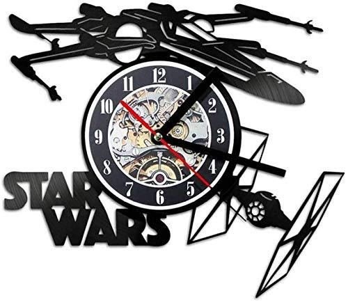 Creative Record Clock Wars Thema Vliegtuigmodel Holle wandklok Vinyl Recordmateriaal Antieke stijl Hangende klok-A