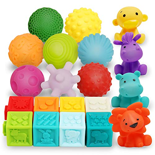 Baby Blocks Balls & Buddies Set: 20-Pieces Activity Toy for Toddlers - 8 Soft Building Blocks, 8 Textured Sensory Balls and 4 Squeezers - Squeezing Toys with Numbers, Shapes, Animals Texture