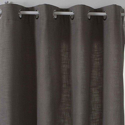 HomeMaison Rideau Uni Esprit Tweed, Polyester, Gris, 260x140 cm