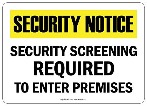 HSSS Hinweisschild, Sicherheitsabschirmung erforderlich für den Eintritt von Räumen, 20,3 x 30,5 cm