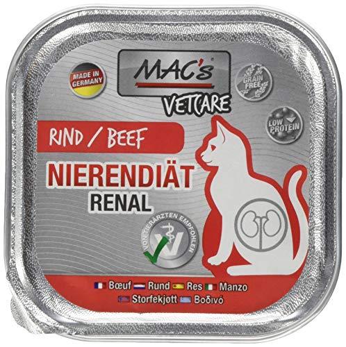 Mac's Katzenfutter getreidefrei Vetcare Rind Nierendiät, 16er Pack (16 x 100g)
