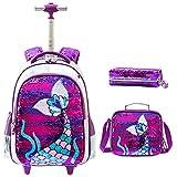 3PCS Girls Sac à Dos à roulettes avec boîte à Crayons Boîte à Crayons pour Filles Sequin Mermaid