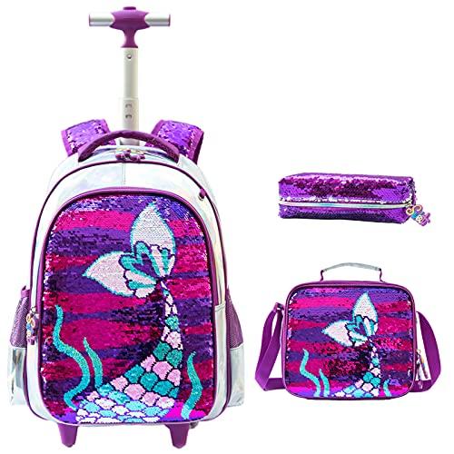 Mochila con Ruedas para niñas 3PCS con Fiambrera Caja de lápices para niñas Sirena con Lentejuelas