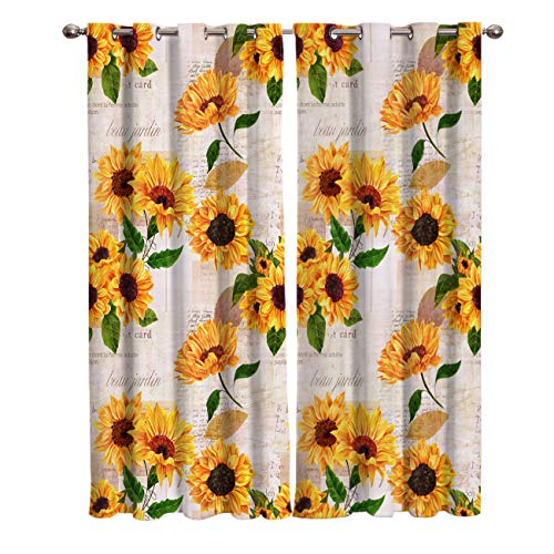 wanxinfu 2 Panel Kitchen Cafe Curtains, Sunflower Newspaper Clipping | Sunlight Filtering Nature Air Through, Home Decor Window Covering Tier Curtains for Bedroom Living Room 55W x 39L inch