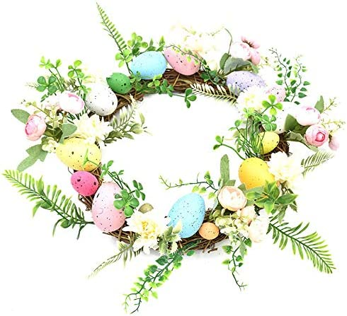 popular Artifical Easter Egg Wreath with online Mixed Flowers,Twigs and Eggs,for Front Door or Indoor, Wall Decor, 15.7In Artificial Flower Wreath popular for Front Door Wall Easter Decorations sale