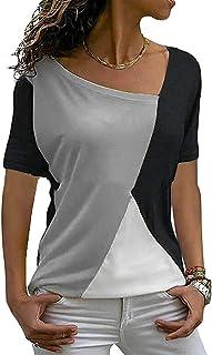 UUYUK Women's Short Sleeve Casual Color Block Shirts Shirt Color Tops