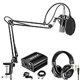 Neewer NW-700 Pro Micrófono de Condensador y Auriculares de Monitor con 48V Phantom Fuente de Alimentación,Boom Brazo,Montura de Choque y Filtro Pop para Grabación de Sonido(Negro)