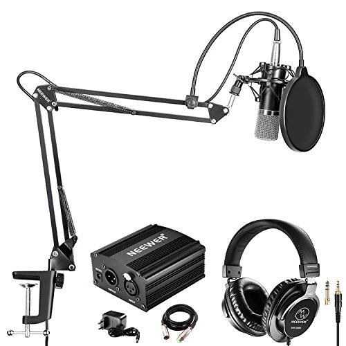 Neewer NW-700 Pro Kondensatormikrofon und Monitor Kopfhörer Set mit 48V Phantomspeisung, NW-35 Ausleger Scherenarmständer, Shock Montage und Pop Filter für Zuhause Studio Tonaufnahme (Schwarz)