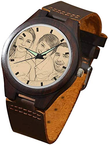 Herren Armbanduhr personalisierte Analog Quarzwerk Herrenuhren mit Foto Alskafashion Bambus Durchmesser 45mm Geschenk für Männer, Kostenlose Gravur (Dark Brown)