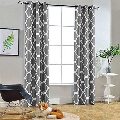 Melodieux Moroccan Fashion Thermal Insulated Room Darkening Blackout Grommet Curtains for Living Room, 42 by 96 Inch, Grey (2 Panels)