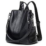 YALUXE Damen Rucksack Diebstahl Schulter Echtleder Große Kapazität für Frauen Zwei Möglichkeiten zu tragen Schwarz