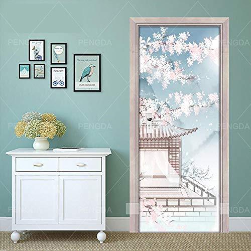 Deurfolie 3D Deurfolie Home Decor Deursticker Abstract Huis Bloemenprint Waterdicht Behang Muurschildering Garderobe Renovatie -95X215Cm
