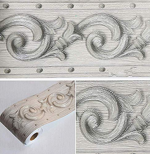 3D-Wand-Bordüre mit grauem Blumenmuster, selbstklebend, wasserdicht, dekorative Bordüre für Badezimmer, Wohnzimmer, Küche, Wand, 10 cm x 5 m