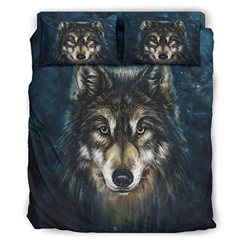 Viiry Juego de cama de 4 piezas, diseño de lobo con estampado cómodo, sábanas blancas de 240 x 264 cm