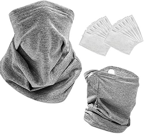 2 PCS Neck Gaiter with 10 PCS Carbon Filters for Men & Women Cooling Scarf Bandanas Balaclavas (Light Grey-EarLoops)