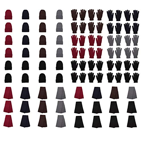 Moda West 144-Pack Gloves, Scarves, and Beanies - Wholesale Unisex Winter Accessories - Bulk 48 Glove Pairs, 48 Scarves, 48 Beanies