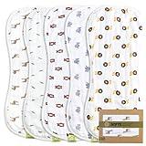 5-Pack Organic Muslin Baby Burp Cloths -...