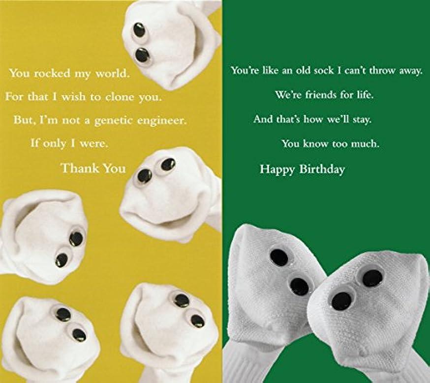 Quiplip Sock Em's Thank You + Birthday 6 Greeting Cards