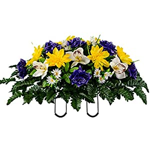 Sympathy Silks Artificial Cemetery Flowers – Realistic Vibrant Roses, Outdoor Grave Decorations – Non-Bleed Colors, and Easy Fit – 1 Purple Rose Yellow Dahlia White Orchid Saddle for Headstone
