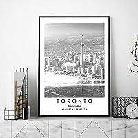 トロント座標ポスターカナダ風景壁アートパネル都市旅行キャンバス絵画インテリア黒白風景写真北欧版画リビング ルーム部屋モダン装飾画