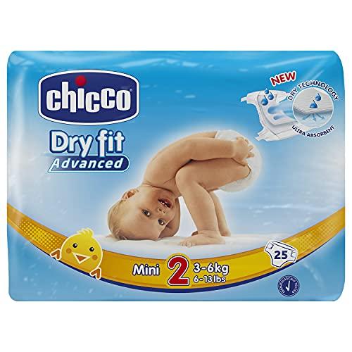 Chicco DryFit - Pack de 25 pañales ultra absorbentes, talla 2, 3-6 Kg