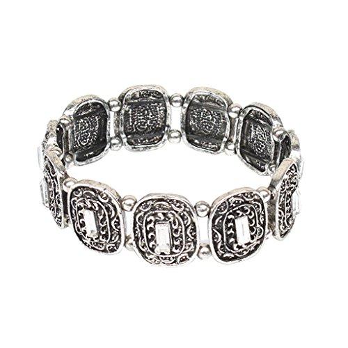 Bonarty Frauen Charme Tribal Ethnische Silber Fower Perlen Gypsy Türkische Armband Armreif