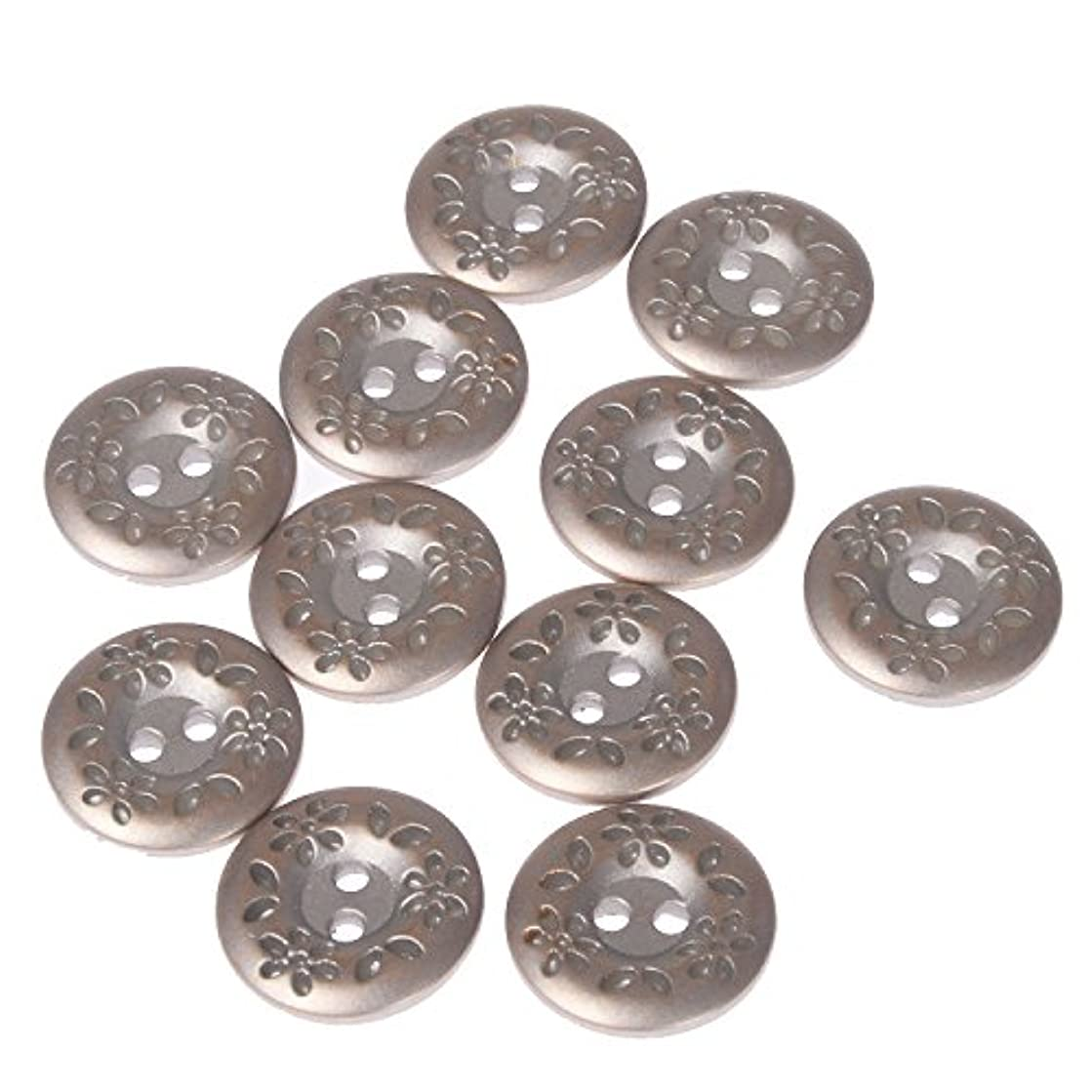 ABS Metal Plated Button 2 Hole Engraved Flower and Leaf Design on Rim Silver Brass 28 Line (10pc)