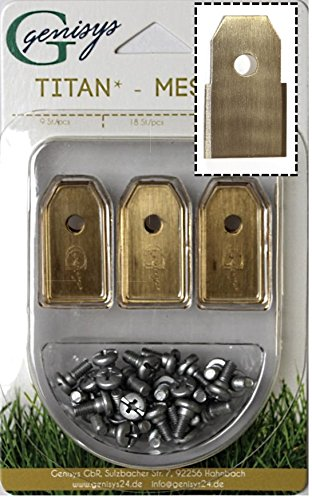 Genisys 30x Titan Ersatz Messer Klingen kompatibel für Husqvarna ® Automower ® (Neue Form HQ 2018 - longlife - 0,60 mm) + 30x ELOX Schrauben [DIN EN 50636 geprüft]