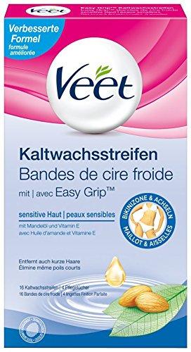 Veet Bikini Kaltwachsstreifen, 3er Pack (3 x 16 Stück)
