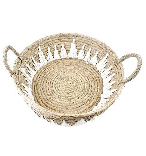 Gran bandeja redonda de abeja y macramé de 45 cm de diámetro, decoración de mesa étnica Chic