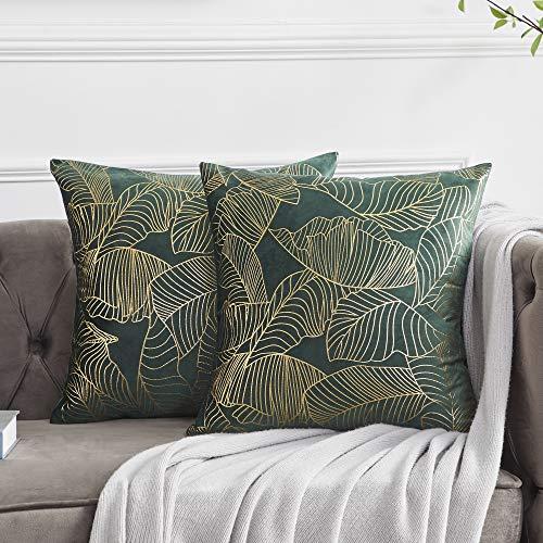 OMMATO Kissenbezug 50x50 cm Samt Gold Blätter Kissenbezüge Grün Dekorative Kissenhülle Dekokissen für Sofa Schlafzimmer Wohnzimmer 2er Set