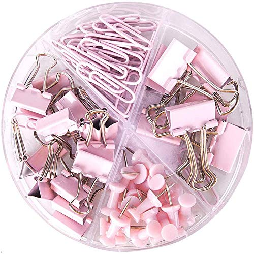 Paper Clips and Binder Clips Push Pins Set and Holder, Syitem Non-Skid Map Tacks Thumbtacks Clips Kits with Container for Office School Home Desk Supplies, 72 PCS Assorted Sizes (Pink) ¡