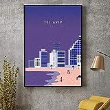 MYSY Tel Aviv Leinwand Reisen Malerei Poster Wandkunst